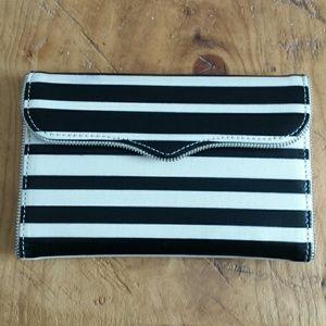 Rebecca Minkoff black white stripe envelope clutch